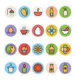 Iconos coloreados BALNEARIO 3 del vector Foto de archivo libre de regalías