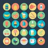 Iconos coloreados comida 4 del vector Imagen de archivo libre de regalías