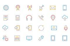 Iconos coloreados comunicación 1 del vector del esquema Fotografía de archivo libre de regalías