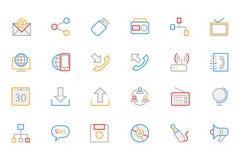 Iconos coloreados comunicación 2 del vector del esquema Fotografía de archivo libre de regalías