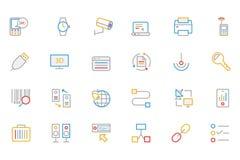 Iconos coloreados comunicación 4 del vector del esquema Imagen de archivo