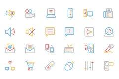 Iconos coloreados comunicación 3 del vector del esquema Fotografía de archivo