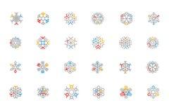 Iconos coloreados copo de nieve 2 del vector del esquema Fotografía de archivo libre de regalías