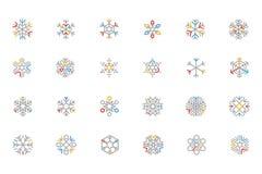 Iconos coloreados copo de nieve 1 del vector del esquema Fotografía de archivo libre de regalías