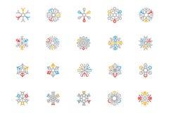 Iconos coloreados copo de nieve 3 del vector del esquema Fotografía de archivo libre de regalías