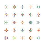 Iconos coloreados copos de nieve 1 del vector Imágenes de archivo libres de regalías