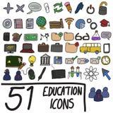 Iconos coloreados de la educación ilustración del vector