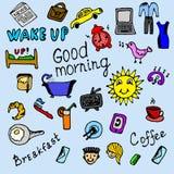Iconos coloreados de la mañana fijados Fotos de archivo libres de regalías