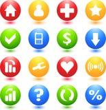 Iconos coloreados de la muestra del Web Foto de archivo libre de regalías