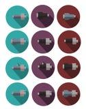 Iconos coloreados de tubos en el aislamiento para los sitios web, banderas de la espuma de poliuretano de los carteles ilustración del vector