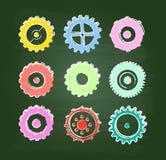 Iconos coloreados del engranaje fijados Foto de archivo