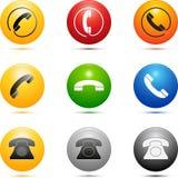 Iconos coloreados del teléfono Fotos de archivo