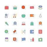 Iconos coloreados 4 del vector que hacen compras Fotos de archivo libres de regalías