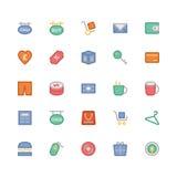 Iconos coloreados 9 del vector que hacen compras Imágenes de archivo libres de regalías