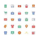 Iconos coloreados 8 del vector que hacen compras Imagen de archivo