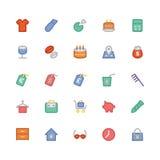 Iconos coloreados 11 del vector que hacen compras Imagen de archivo