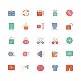 Iconos coloreados 3 del vector que hacen compras Foto de archivo