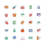 Iconos coloreados 10 del vector que hacen compras Imagen de archivo