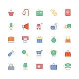 Iconos coloreados 6 del vector que hacen compras Foto de archivo libre de regalías
