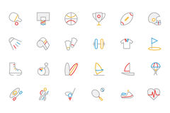Iconos coloreados deportes 1 del vector del esquema stock de ilustración