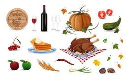 Iconos coloreados historieta del otoño y de la acción de gracias fijados stock de ilustración