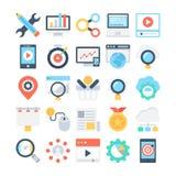 Iconos coloreados márketing 3 del vector de Digitaces stock de ilustración