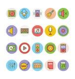 Iconos coloreados música 1 del vector Imagen de archivo