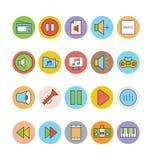 Iconos coloreados música 2 del vector Fotografía de archivo libre de regalías