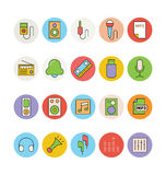 Iconos coloreados música 3 del vector Foto de archivo