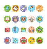 Iconos coloreados música 4 del vector Fotos de archivo libres de regalías
