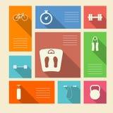 Iconos coloreados para el deporte con el lugar para el texto Foto de archivo libre de regalías