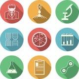 Iconos coloreados para la bacteriología stock de ilustración