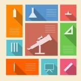 Iconos coloreados para las fuentes de escuela con el lugar para el texto Imagenes de archivo