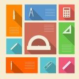 Iconos coloreados para las fuentes de escuela con el lugar para el texto Fotos de archivo libres de regalías