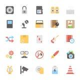 Iconos coloreados plano 5 de las multimedias stock de ilustración
