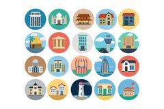 Iconos coloreados plano 3 de los edificios Imágenes de archivo libres de regalías
