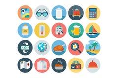 Iconos coloreados plano 3 del hotel y del restaurante libre illustration