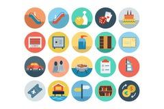Iconos coloreados plano 7 del hotel y del restaurante libre illustration