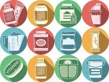 Iconos coloreados plano para la nutrición de los deportes Imagen de archivo