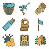 Iconos coloreados plano para Paintball Imágenes de archivo libres de regalías