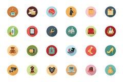 Iconos coloreados plano que hacen compras 2 Imagen de archivo