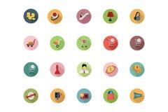 Iconos coloreados plano que hacen compras 5 Imagen de archivo libre de regalías