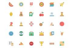 Iconos coloreados vector plano 2 del casino stock de ilustración