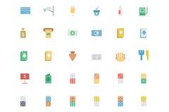 Iconos coloreados vector plano 3 del casino stock de ilustración