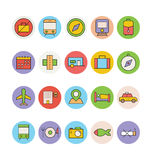 Iconos coloreados viaje 1 del vector Fotografía de archivo libre de regalías