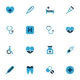 Iconos coloridos antibióticos fijados Colección de termómetro, dental, de estetoscopio y de otros elementos También incluye símbo Fotos de archivo