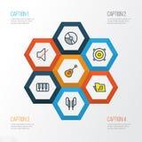 Iconos coloridos audios del esquema fijados Colección de secuencias, de auriculares, de círculo y de otros elementos También incl Imagen de archivo libre de regalías