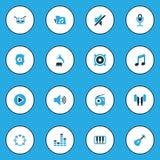 Iconos coloridos audios fijados Colección de Presidente, de micrófono, de radio y de otros elementos También incluye símbolos tal Imagenes de archivo