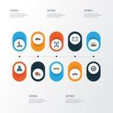 Iconos coloridos autos del esquema fijados Imágenes de archivo libres de regalías