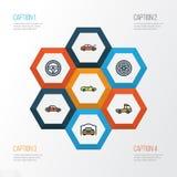 Iconos coloridos autos del esquema fijados Colección de deporte, de coche, de recogida y de otros elementos También incluye símbo Fotos de archivo